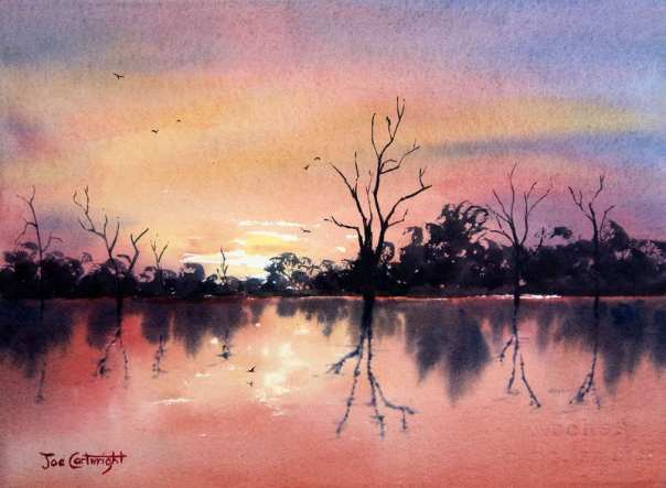 Lake-Bonney-red-sunset-watercolor-painting-South-Australia1